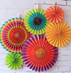 SUNBEAUTY 6er Set Tissue Papier Fans Fächer Dekoration für Party Feier Hochzeit Geburtstag Kombination 21cm 31cm 42cm (Bunt): Amazon.de: Küche & Haushalt