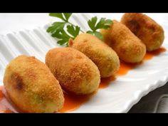 Receta de croquetas de carne - Karlos Arguiñano - YouTube Tapas, Fritters, Cornbread, Sweet Potato, Paleo, Potatoes, Vegetables, Ethnic Recipes, Tortillas
