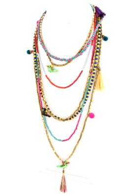 Eclectic Multi Strand Charm Necklace