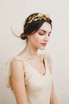 A headband of golden leaves and three large golden flowers make up the Rowena Circlet. An ornate headpiece, each leaf is wired by hand for the most naturalistic effect. Circlet, Bridal Hair Accessories, Head Accessories, Bridal Headpieces, Fascinators, Bridal Looks, Hair Pieces, Bridal Dresses, Wedding Styles