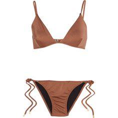 Melissa Odabash Manhattan metallic triangle bikini (165 AUD) ❤ liked on Polyvore featuring swimwear, bikinis, swimsuits, bronze, triangle bikini, bikini bathing suits, triangle bathing suits, swimsuit swimwear and bikini swimsuit