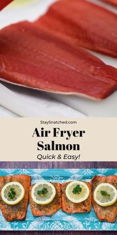 Quick and Easy Air Fryer Salmon is the best fish fillet recipe for your Phillips, Power XL, or Nuwave model. This is a healthy air-fried recipe that is low-carb and keto friendly. This salmon has crispy edges and is glazed with olive oil or garlic butter. Air Fryer Recipes Salmon, Power Air Fryer Recipes, Air Fryer Dinner Recipes, Air Fryer Recipes Easy, Healthy Salmon Recipes, Salmon In Air Fryer, Air Fry Fish Recipe, Fish Recipe Low Carb, Fried Fish Recipes