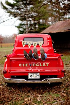 Red Chevy Pickup - Country Couples In Love, I feel like if your going to have a country style wedding you need to incorporate a pickup truck!