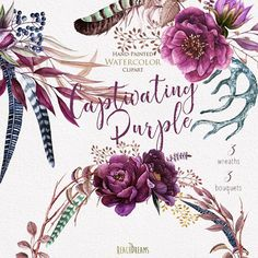 Watercolor Purple Wreaths Floral elements and Feathers.
