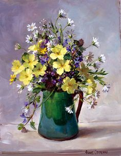 Anne Cotterill Primroses and Stitchwort In A Green Jug