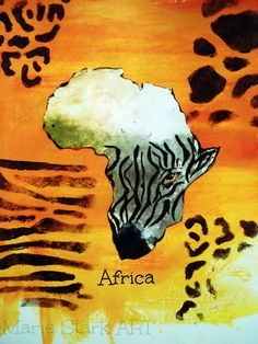 Africa and the Zebra Sun by MarieStarkART on Etsy, $18.00