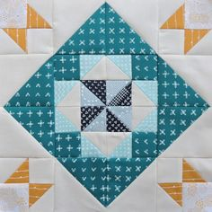 Diamond Twirl quilt block tutorial from the Modern HST Sampler QAL at BlossomHeartQuilts.com