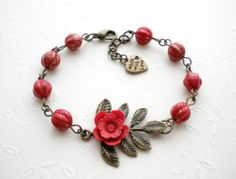 Hey, I found this really awesome Etsy listing at https://www.etsy.com/listing/82057557/flower-bracelet-red-bracelet-charm