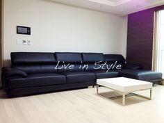 L-Shape Black Leather Sofa - Max2639