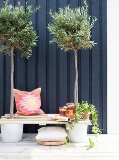 Skab et kreativt grønt hjørne på terrassen med to planter, lidt maling og en palle. Se her, hvordan du laver din egen pallebænk med vores detaljerede DIY-guide!