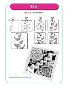 Taxi Tangle, Zentangle Pattern by Zhai Xiaoxi Zentangle Drawings, Doodles Zentangles, Doodle Drawings, Doodle Art, Zantangle Art, Zen Art, Zen Doodle Patterns, Easy Zentangle Patterns, Doodle Borders