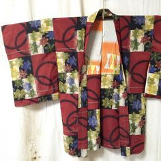 Vintage Meisen Silk Kimono Haori, Momiji, Autumn Leaves and Circle Pattern, 1940s
