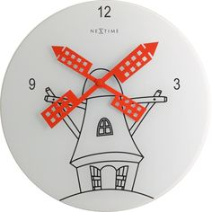 8807 - Windmill. Holland is famous for its windmills, so a windmill clock fits perfectly into NeXtime's clock collection. And what would a windmill be without it's blades?  #clock #clocks #nextime