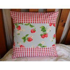 Cath Kidston Blue Rosali Check& Strawberry Fabric Cushion Cover