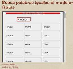 Aula Abierta T.E.A. Colegio Federico de Arce Martínez.: Busca palabras iguales al modelo- frutas