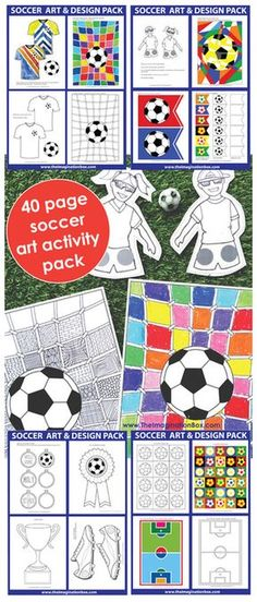 The ImaginationBox, kids football/soccer crafts and activities. 40 page art and design soccer activity resource pack, includes templates and examples, trophies, medals, garlands, abstract activities, finger puppets and sportswear design - ideal for school, home and holidays