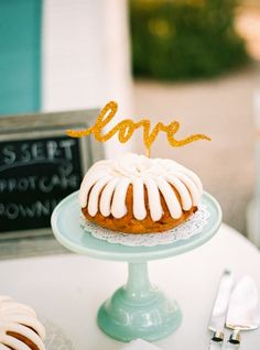 Simple and sweet cake topper: http://www.stylemepretty.com/2015/02/17/inspired-by-cameron-diazs-at-home-wedding/