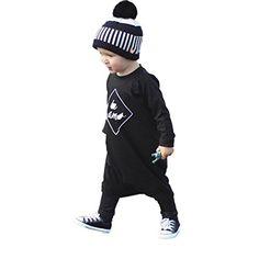 Kid Print Romper Jumpsuit Sunsuit+Headband Clothes Set Blue, 6-12Months squarex Baby Romper