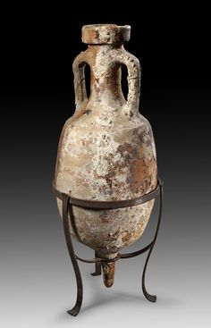 Roman amphora, Adria, 1st century B.C.-1st century A.D. Transport amphora for wine, Dressel 6A, 101 cm high. Private collection