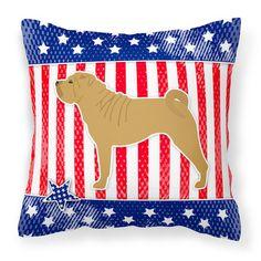"""Caroline's Treasures Patriotic Indoor/Outdoor Throw Pillow Size: 14"""" H x 14"""" W x 3"""" D"""