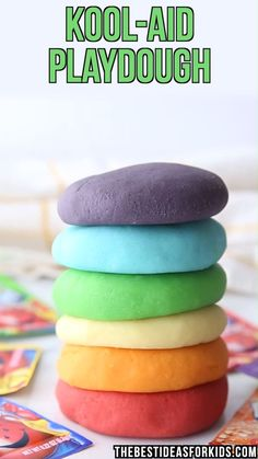 Jan 2020 - An easy homemade Kool-Aid playdough recipe! Only a few ingredients, super soft and will last for months! Fun Diy Crafts, Fun Crafts For Kids, Craft Activities For Kids, Diy For Kids, Motor Activities, Sensory Activities, Easy Homemade Playdough Recipe, Slime Recipe, Playdough Recipe Videos