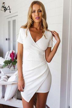 Euro Modern V Neck Asymmetrical Tailoring Dress