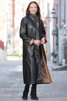 Striking and elegant, the Vickie is made of silky-soft Napa lambskin leather and… Black Rain Jacket, North Face Rain Jacket, Rain Jacket Women, Long Leather Coat, Leather Trench Coat, Lambskin Leather, Leather Jackets, Soft Leather, Red Leather