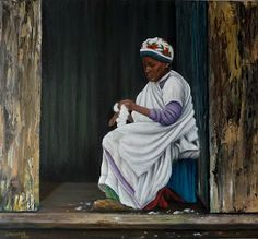 "Quadro Pintura by Jorge Marcovich ""Desfiando algodão"" 40x50cm Oil Painting reeling cotton"