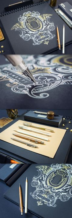 black sketchbook! and i want these pens!!