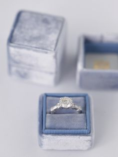 Blue small velvet ring with separate lid made from limited edition velvet. | Mrs Box Truman