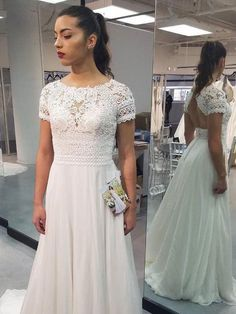 2265e1f8d34 A-line Lace Top Short Sleeves Chiffon Beach Wedding Dresses SWD0016