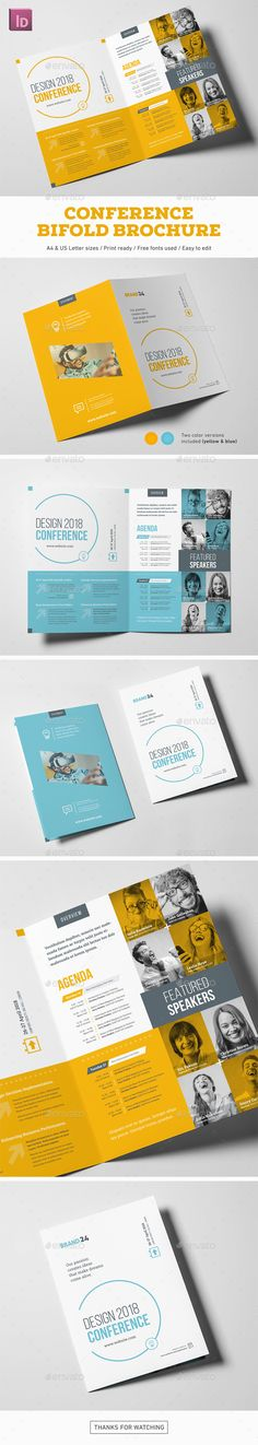 Conference Bifold Brochure — InDesign INDD #company #summit • Download ➝ https://graphicriver.net/item/conference-bifold-brochure/19502195?ref=pxcr