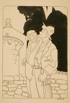 "Castelao. ""Consello de pai"", ca. 1914, técnica mixta/papel, 34 x 23'50 cm. Colección del Museo de Pontevedra."
