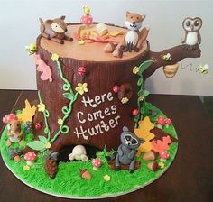 Adorable woodland themed cake!