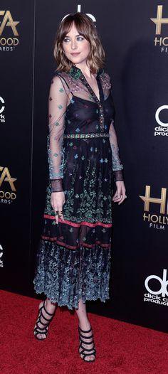 Dakota Johnson on the red carpet at the Hollywood Film Awards in LA - 1 Nov 2015