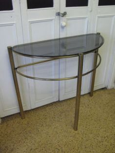 $50 HALL WAY TABLE Half Moon Glass Stand Gold Legs 80x38x72cm Text 0411691171 or email info@bitspencer.com