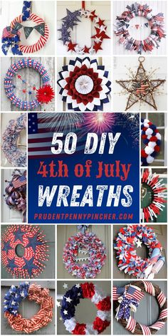 Show your patriotism by hanging one of these creative DIY of July Wreaths on your front door. From easy deco mesh wreaths to burlap wreaths, there are plenty of red, white and blue of July front door ideas. Wreath Crafts, Diy Wreath, Diy Crafts, Wreath Ideas, Wreath Making, 4th July Crafts, Patriotic Crafts, Patriotic Wreath, Deco Mesh Wreaths