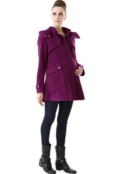 "Momo Maternity ""Sawyer"" Wool Blend Hooded Coat - Amethyst M at Amazon Women's Clothing store:"
