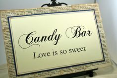 Candy Bar Sign, Vintage Book Pages, Wedding Signs, Food Signs, Dessert Signs, Baby Shower Signs, Decorations.
