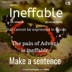 learn the meaning of ineffable. Interesting English Words, Beautiful Words In English, Learn English Words, English Phrases, English Idioms, English Lessons, English Language, Good Vocabulary Words, Advanced English Vocabulary