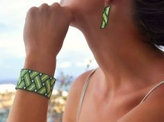 Items similar to Bracelet Peyote, green white, bead woven cuff, unique handmade jewelry on Etsy Bead Loom Patterns, Peyote Patterns, Bracelet Patterns, Beading Patterns, Bead Loom Bracelets, Peyote Beading, Beadwork, Seed Bead Jewelry, Seed Beads
