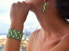 a peyote stitched bracelet  earrings