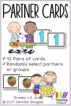 Partner Cards - Randomly assign students a partner or small group without the fuss and arguments! Classroom Management Strategies, Classroom Activities, Learning Activities, Teaching Resources, Cooperative Learning, Student Learning, Partner Cards, Too Cool For School, School Stuff
