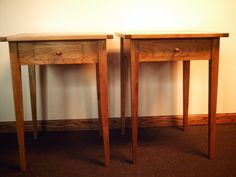 Matched Pair Shaker Style Cherry End Tables/ Night Stands