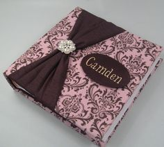 Photo Album baby girl personalized pink brown damask by JaDazzles, $109.00
