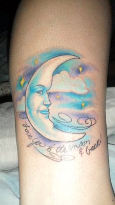"my first tattoo.. (: ""i love you to the moon and back"" for my grandma, in her handwriting from a card, and her profile on the moon. <3 <3 <3"