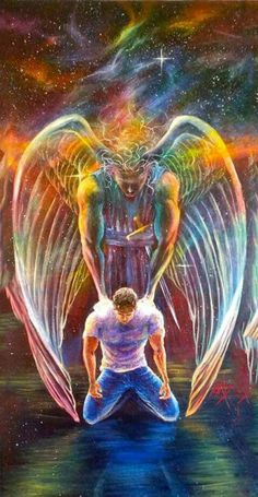 Find this Pin and more on Prophetic Art Paintings. Angel Pictures, Jesus Pictures, Angel Images, Fantasy Kunst, Fantasy Art, Spiritual Paintings, Angel Warrior, Prophetic Art, Biblical Art