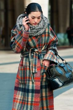 plaid wool coat, jacket, bow, scarf, bundled up, winter, pocket, cinched waist, layers, colors repin: Tartan
