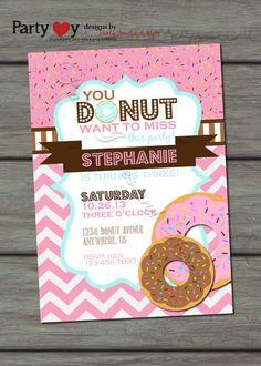 Donut Birthday Invitation Donut Party by PartyInvitesAndMore, $10.00