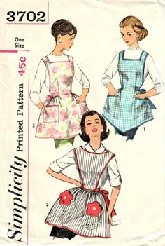 Simplicity 3702 Vintage Sewing Pattern CLASSIC Retro Housewife Cobbler Apron Set, Bib Front, Back Straps, Flower Pockets Retro Apron Patterns, Vintage Apron Pattern, Aprons Vintage, Simplicity Sewing Patterns, Vintage Sewing Patterns, Pattern Sewing, Retro Pattern, Clothes Patterns, Cobbler Aprons